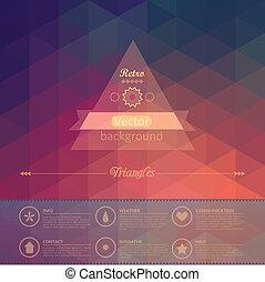complete., schichten, hat, dreieck, leicht, wenige, muster, shapes., zurück, seamless, hintergrund., vektor, retro, datei, infographics, geometrisch, etikett, using., zusammensetzung, design.