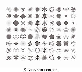 Complete set of 80 black design elements , signs and symbols icons on white background