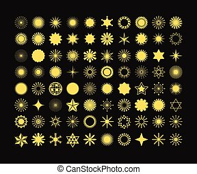 Complete set of 80 golden design elements, and signs and symbols icons on black background