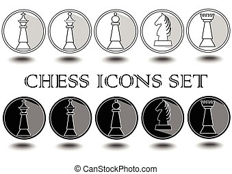 Complete set of black and white chess pieces in circle icons, king, queen, rook, bishop, knight, pawn, outline design with long shadow effect