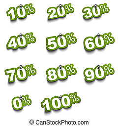 Complete set of percent green stickers over a white background fixed with push pin