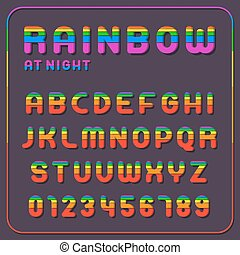 Complete set of rainbow alphabet letters