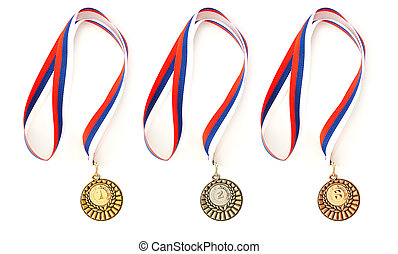 Complete set of sport medals isolated on white
