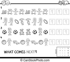 complete the pattern educational game color book - Black and...