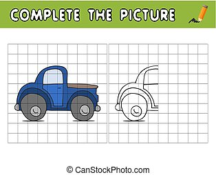 Complete the picture of a car. Copy the picture and color it. Educational game for children