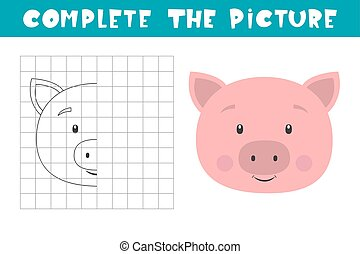 Complete the picture of a pig. Copy the picture. Coloring book. Children art game for activity page.