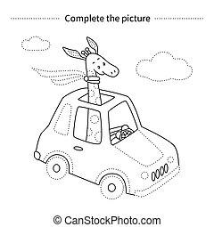 Giraffe in a car.