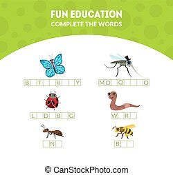 Complete the Words, Fun Educational Game for Preschool Kids,...