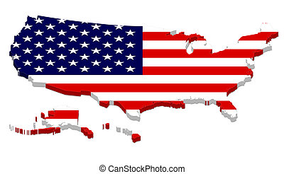 Complete USA Map with Flag Overlay - 3D rendering of USA map...