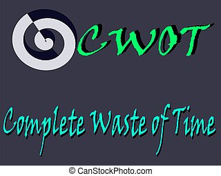CWOT abbreviation complete waste of time displayed with text and symbolic pattern on educational background for thought prints.