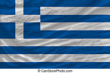complete waved national flag of greece for background