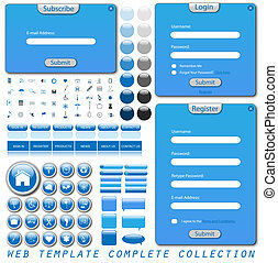 Complete web template collection with forms, bars, buttons, icons and chat bubbles.