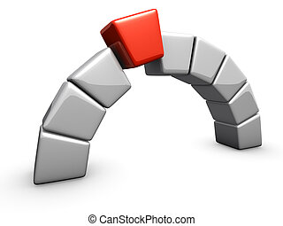 An isolated arc made of boxes with final red part on white background