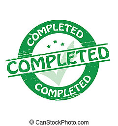 Completed - Stamp with word completed inside, vector...