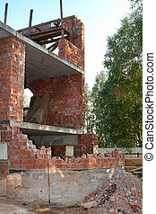Completely destroyed a two-story brick building without a roof in the suburbs of St. Petersburg.