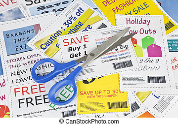 Completely fake fashion coupons with scissor. Fictional bar codes. All coupons were created by the photographer. No real ads were used. Photographs in the coupons are the photographers work and are included in the release.
