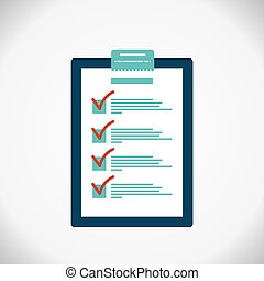 Completing checklist on clipboard. Business concept. Clipboard with checklist