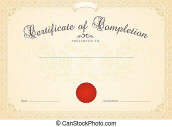 completion., diploma, cornice, certificato