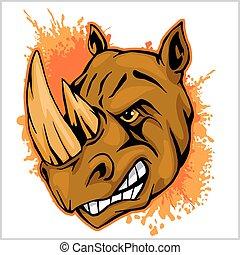 completo, atletico, illustrazione, rinoceronte, rinoceronte, vettore, disegno, mascotte