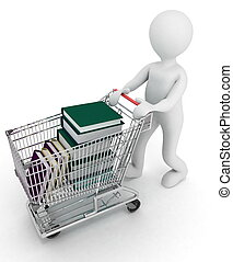 completo, books., conduce, carrito, supermercado, fondo., ilustración, blanco, hombre, 3d