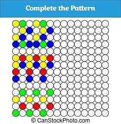 completo, el, pattern., educación, lógica, juego, para, preescolar, kids., vector, ilustración