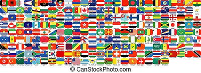 completo, jogo, de, bandeiras