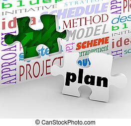completo, pared, rompecabezas, estrategia, plan, palabras, ...