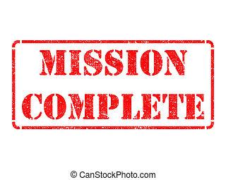 completo, -, rojo, misión, caucho, stamp.
