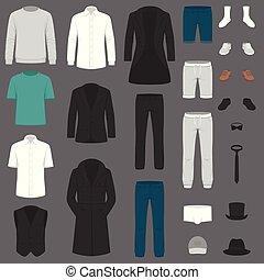 completo, set, pantaloni, camicia, fashion., clothes., giacca, vettore, uomo