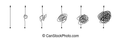 Complex and simple line path set. Scribble line knot from complicated to simplicity shape