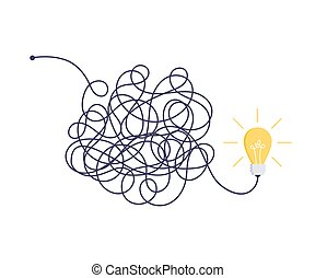 Complex easy simple way from start to idea. Chaos simplifying, problem solving and business solutions idea searching concept vector illustration.