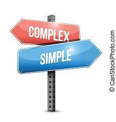 complex, eenvoudig, meldingsbord, illustratie, ontwerp