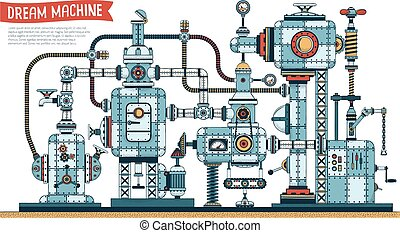 Complex fantastic steampunk machine - color version with ...