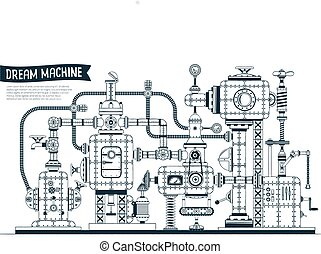 Complex fantastic steampunk machine or apparatus with many ...