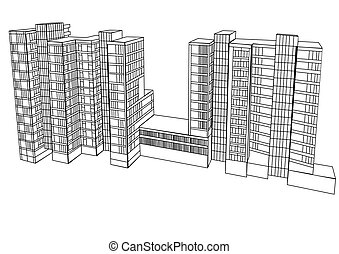 complex housing isolated on a white background