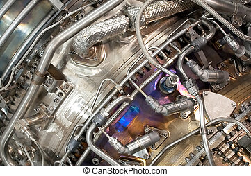jet engine - complex hydraulic and parts engineering inside...