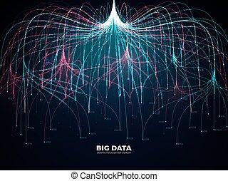 Complex information big data visualization. Abstract futuristic energy representation vector concept