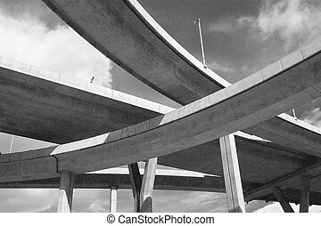 Complex junction - Motorway bridges crossing on different...