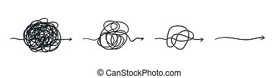 Complex line. Complicated way. Messy ball concept. Loading idea vector process.