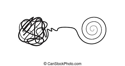 Complex lines knot simplified into simple spiral, complex problem solving icon, design concept, isolated vector illustration