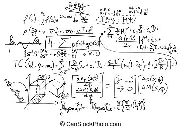 Complex math formulas on whiteboard. Mathematics and science...
