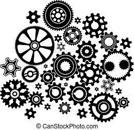 Complex mechanism of various gears and cogwheels