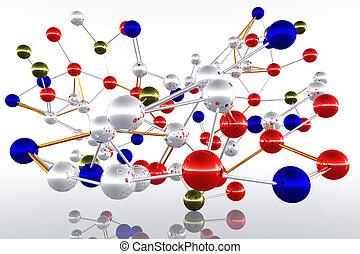 Complex Molecule Atom Structure 3D render