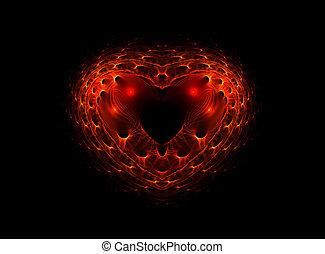Complex red heart, valentines background