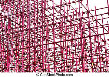 Complex scaffolding setup for a stage on white background