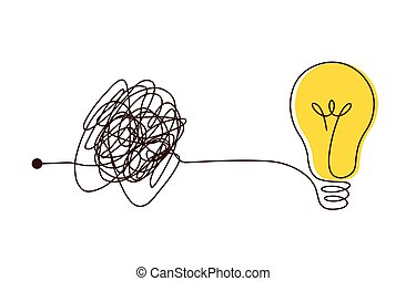 Complex scribble lines knot simplified into light bulb.