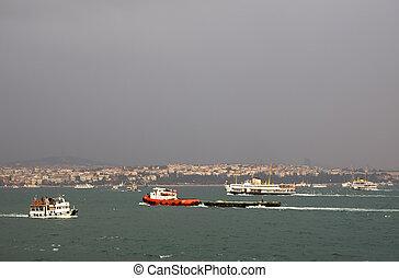Complex sea traffic at Bosporus, Istanbul