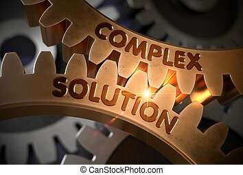 Complex Solution Concept. Golden Cogwheels. 3D Illustration.