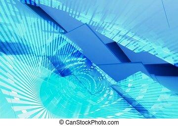complexe, bleu, conception