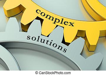 complexe, concept, solution, gearwheels